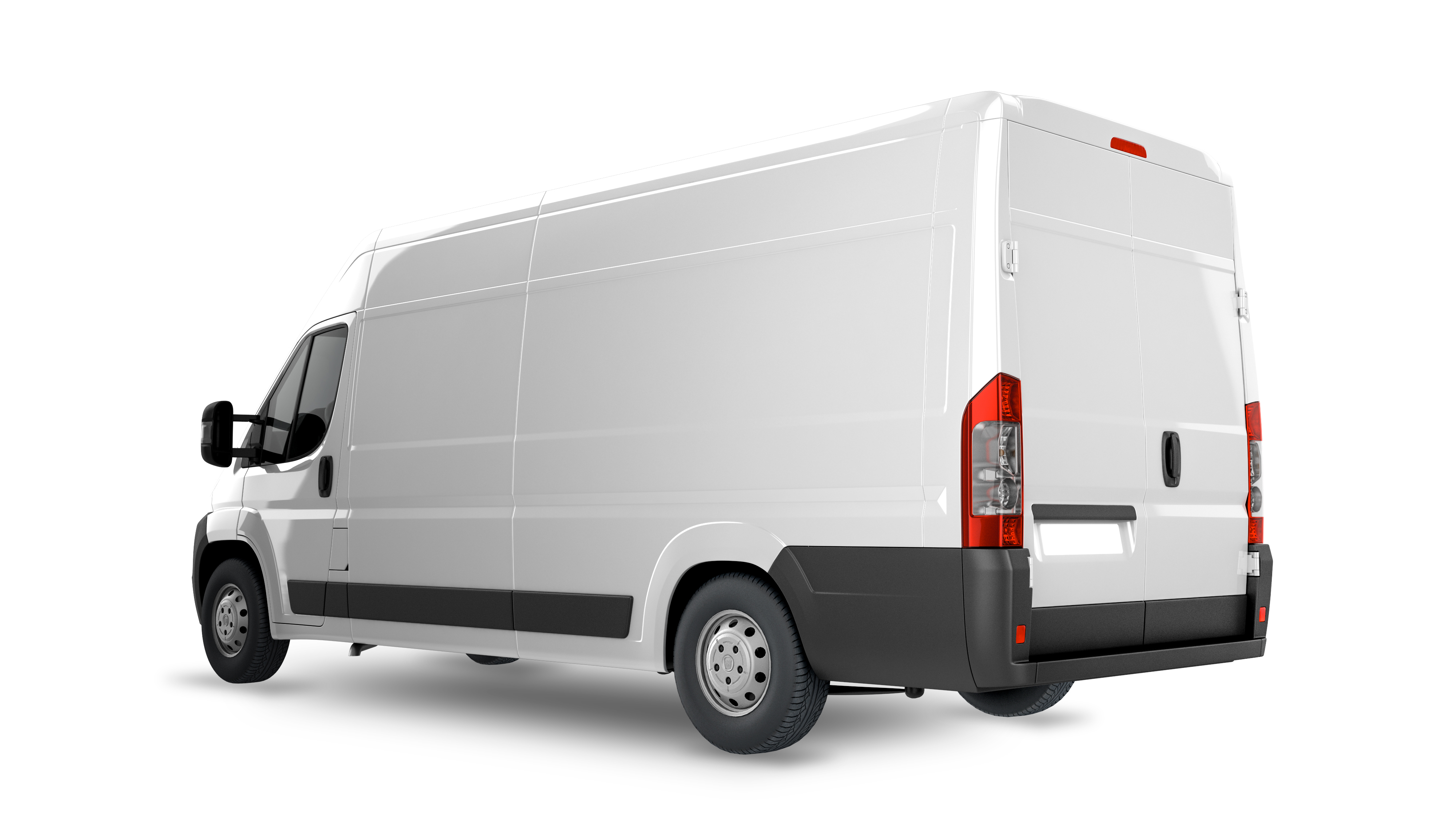 Delivery Van Mockup, layout for presentation. 3D render illustration. PLace your design on this blank canvas.